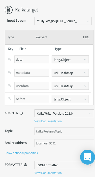Configuring the Kafka target FORMATTER.